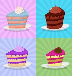 Set a piece of cake on a plate Cake on a bright vector image vector image