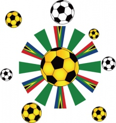 soccer ball flags vector image vector image