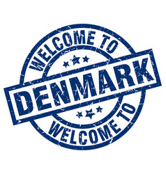 welcome to denmark blue stamp vector image vector image