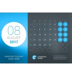 Calendar Template for August 2017 Design vector image vector image