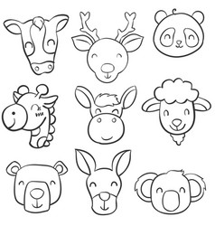 doodle of animal head cartoon style vector image vector image
