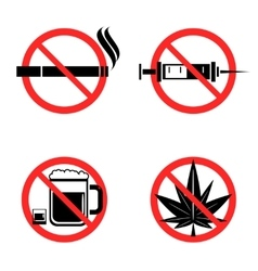 No Drugs Icons Set vector image vector image