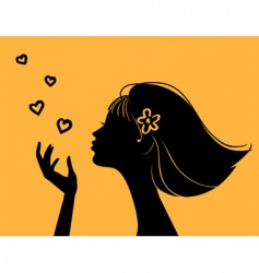 beautiful woman silhouette with heart vector image vector image