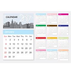 Calendar 2017 template design on urban scene vector image
