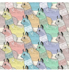 Seamless pattern with cute lamas vector image vector image