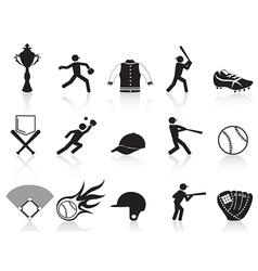 black baseball icons set vector image