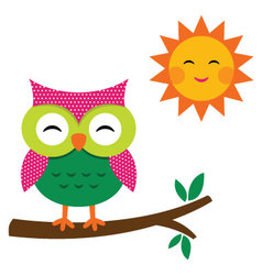Cute owl and sun vector image vector image
