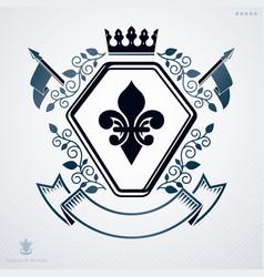 heraldic vintage design element retro style vector image vector image