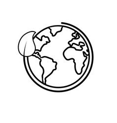 line earth planet with ecological leaf design vector image vector image