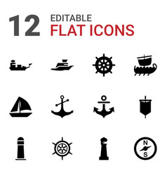 12 nautical icons vector image