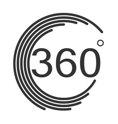 360 degrees angle icon on white background flat vector