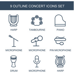 9 concert icons vector