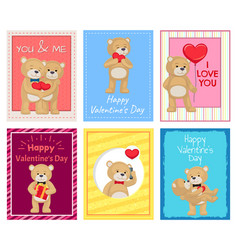 adorable plush bears on valentines day postcards vector image