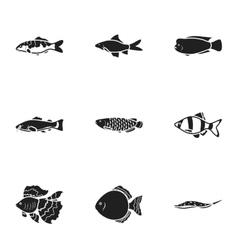 Aquarium fish set icons in black style Big vector