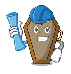 architect coffin character cartoon style vector image