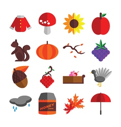 Autumn Season Icons Set vector image