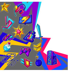 background with gaming items cyber sports vector image