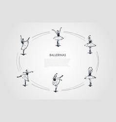 ballerinas - women dancers in different dancing vector image
