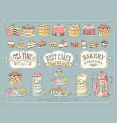 big collection pastries and tea accessories vector image