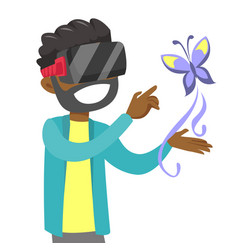black man in vr headset uses augmented technology vector image