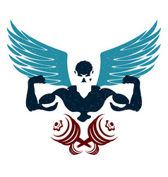 Bodybuilder with wings and dumbbells silhouette vector