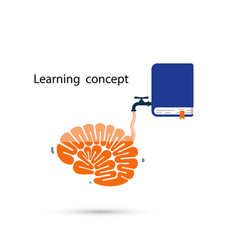 Brains icon and the textbook symbol with learning vector