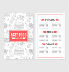 burger menu template design with hand-drawn vector image