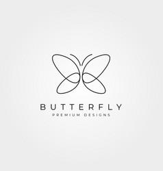 Butterfly line art logo symbol minimal design vector
