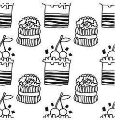 cakes sweet dessert black and white seamless vector image