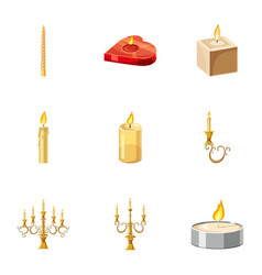 Candles icons set cartoon style vector