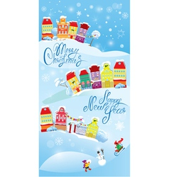 Card with small fairy town on light blue sky backg vector image