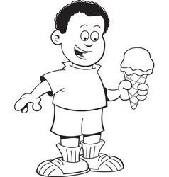 Cartoon African boy eating an ice cream cone vector
