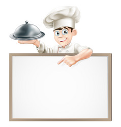 Cartoon chef with cloche and menu vector