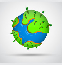cartoon earth planet with trees vector image