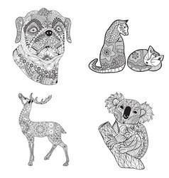 cartoon set cat deer dog and koala vector image