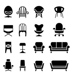 Chair icon set in front view vector