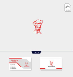 chef logo template free business card design vector image