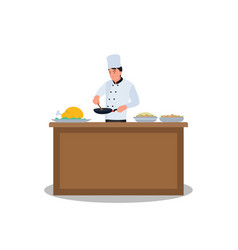 chef prepares food fried in a frying pan vector image