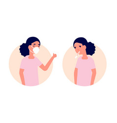 child wear mask healthy vs unhealthy girl with vector image