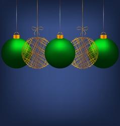 Christmas balls on blue vector image