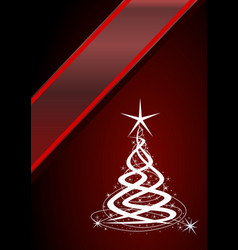christmas tree red background with stars vector image