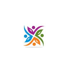 circle leaf ornament colorful logo vector image