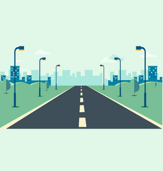 cityscape scene with road trees and sky vector image