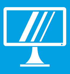 Computer monitor icon white vector
