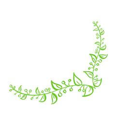 corner green hand drawn calligraphic spring vector image