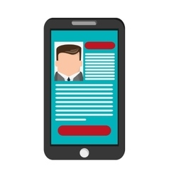 Curriculum vitae cv on cellphone screen icon vector