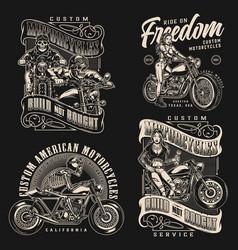 custom motorcycle vintage monochrome labels vector image