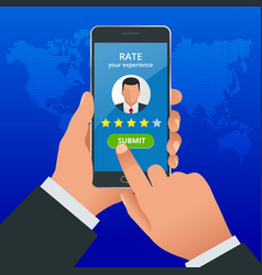 customer reviews review rating on mobile phone vector image