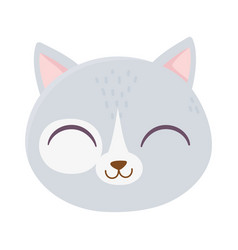 cute cat face feline cartoon animal icon vector image