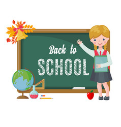cute girl with chalkboard and school supplies vector image